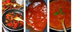 Bavette w mocnym sosie pomidorowym z indykiem i suszem konopi Super Silver Haze - proces gotowania